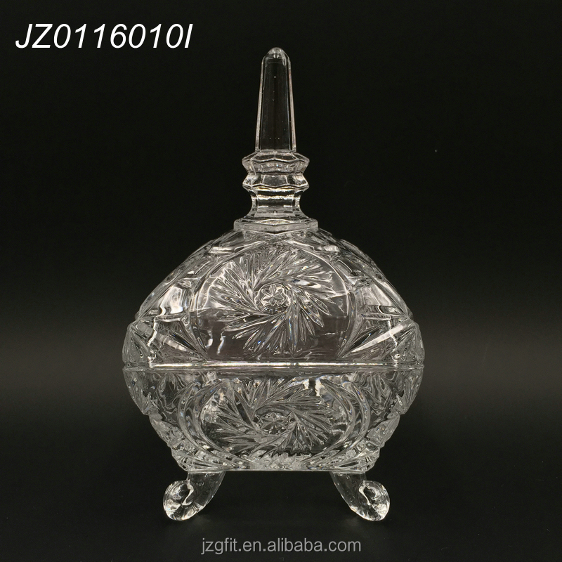 Wholesale factory price elegant square design footed clear glass sugar pot,glass candy jar with lid