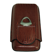 Travel Sized Personalize Leather Cigar Case with Cigar Cutter