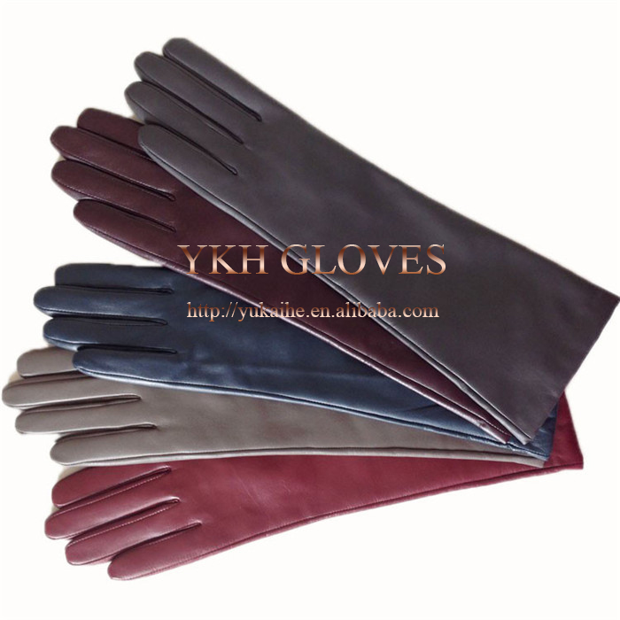 Elbow Length Colorful Leather Opera Gloves