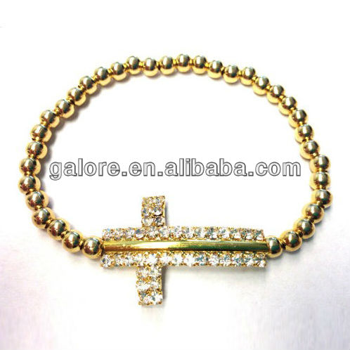 gold beaded crosses for to make bracelets wholesale business