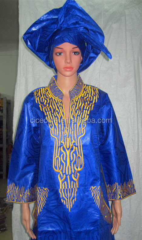 2015 new african fashion new design tradition bazin riche material embroidery long dress with headtie(1.6m long)