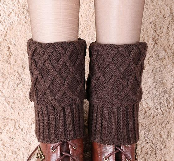 Women Leg Warmers Rhombus Design Winter Crochet Knitted Boot Cuffs Toppers Liner