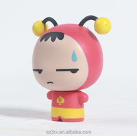 custom design cartoon cute vinyl pvc figurine miniature cute bee plastic figure for marketing