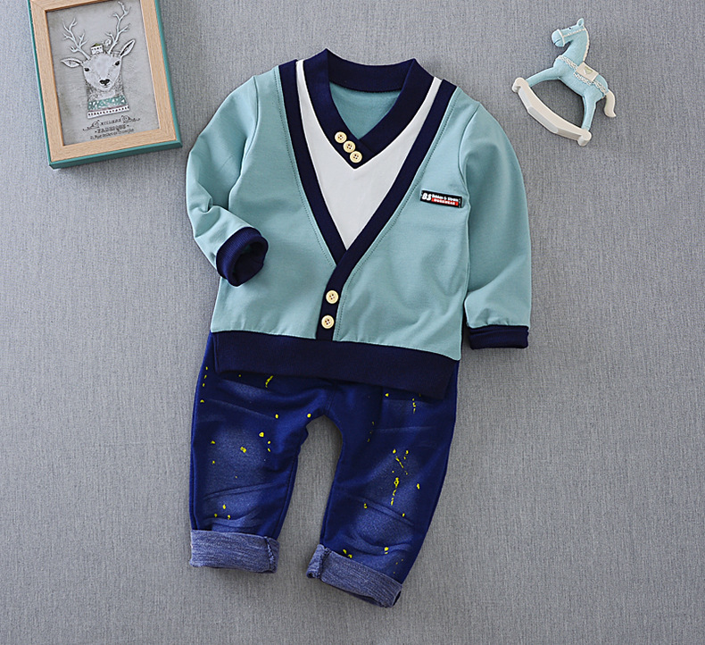 2017 New personality children's clothing children's suit two-piece suit V-neck suit