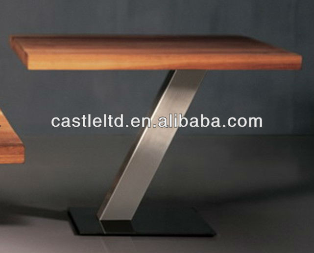 Foldatble Solid oak wooden coffee/end table with brushed stainless steel base
