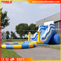 Popular Blue Inflatable wave slide with water pool, best selling inflatable slip and slide with cheap price