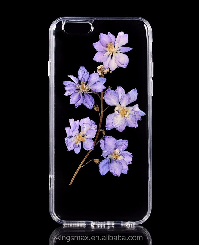 New Popular Handmade Purple Flower Back Cover for iPhone 7 Soft Dried Glue Pressed Flower Cellphone Cover Case