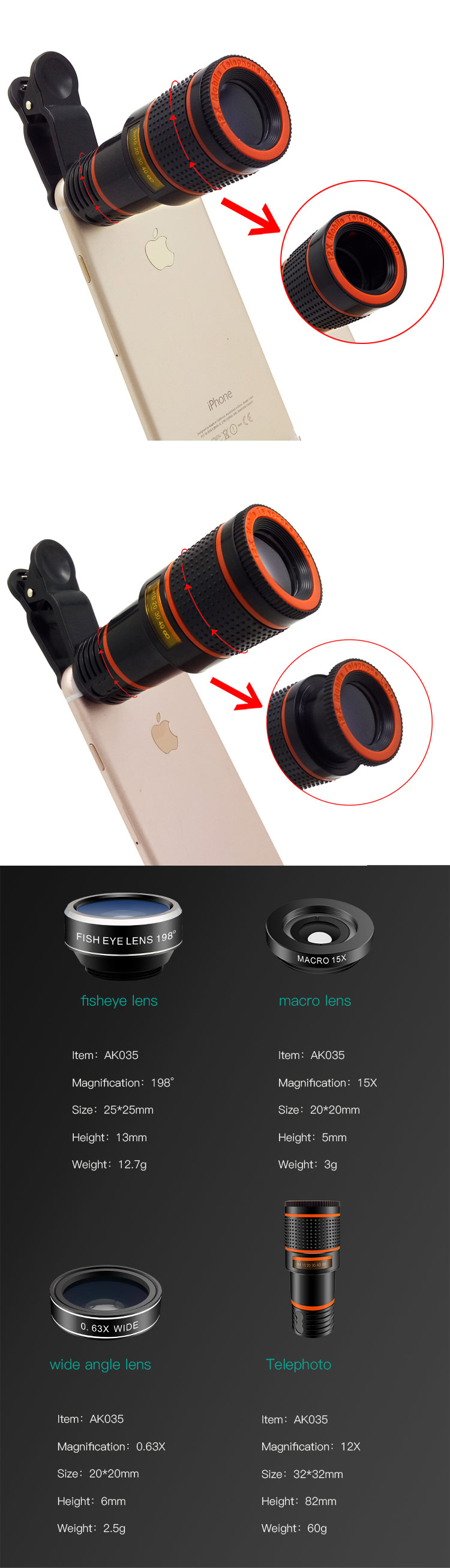 2018 New idea cell phone lens 4 in 1 12x telephoto 198 degree 0.63x wide angle 15x macro zoom camera lens kit