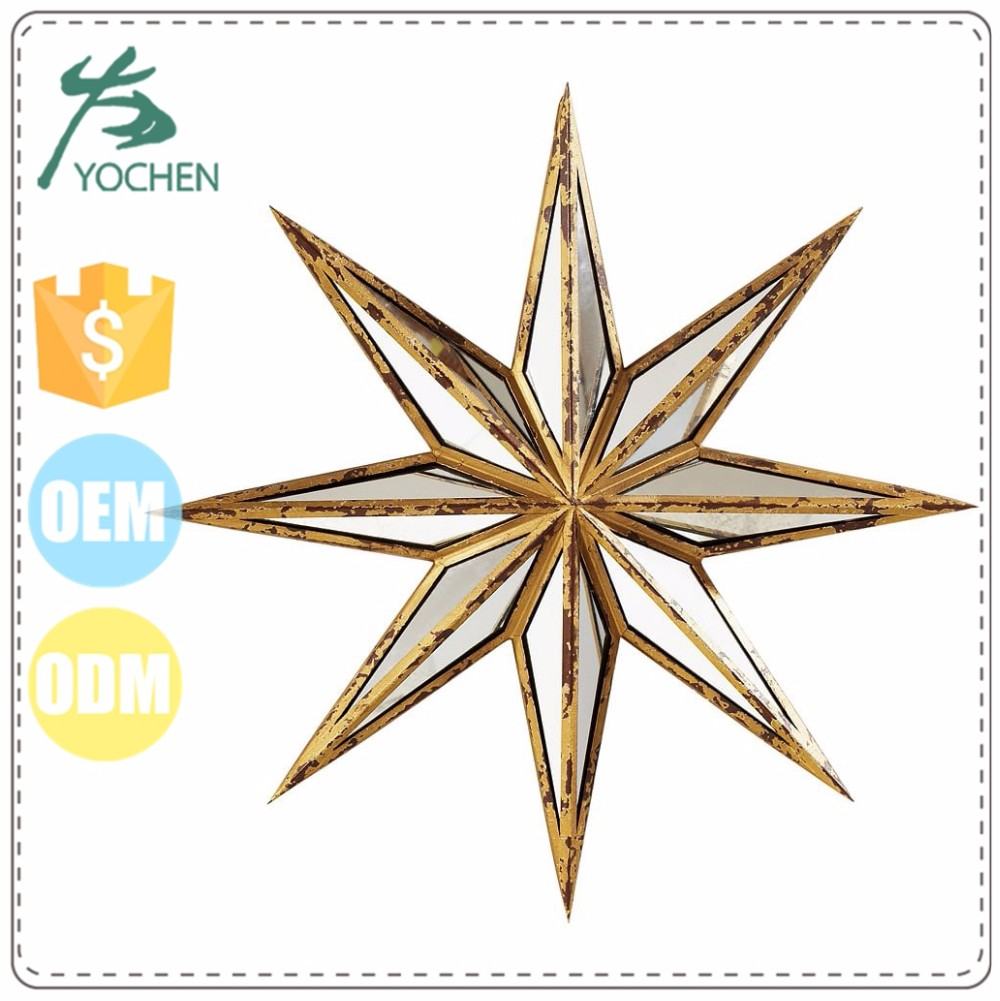 rusty gold ornament novelty star mirror metal for homeware decorative