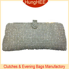 IF-CM119 Luxury Bridal Purses Silver Metal and white Crystal Mesh Evening clutches