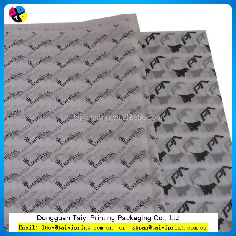 Black logo printed pre-cut custom sizes transparent white tissue wrapping paper