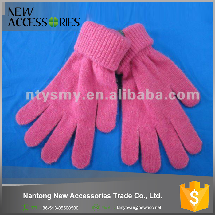 acrylic fashion knitted magic gloves with rubber