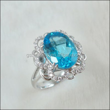 6.5CT Genuine Natural Topaz Ring Latest Mexican 925 Silver And Gemstone Jewelry