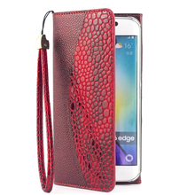 Free Fashionable Mobile Flip Leather Phone Purse Case Wallet Cover For Samsung Galaxy S6 Edge