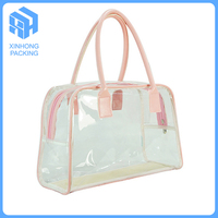 Customized pvc handle bags for travelling/fashionable clear plastic pvc handle bag with zipper/plastic tote bags with handles