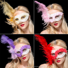 Venetian Mask with Pearl Ostrich Feathers Half-face for Princess Masquerade Party Dance Wedding Decoration Halloween Christmas
