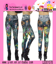 Sexy Colorful Slim Printed Leggings Custom Fake Belts Stretch Skinny Women Hot Jean Pants