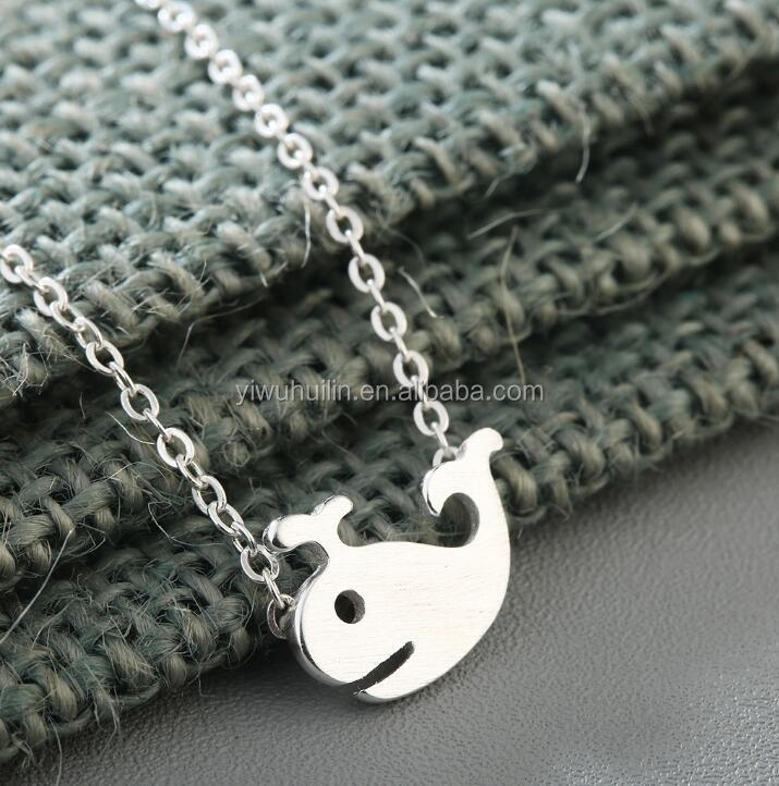 QM150 Huilin Personalised Ocean Tiny Whale Dolphin Necklace 925 Silver women Jewqelry