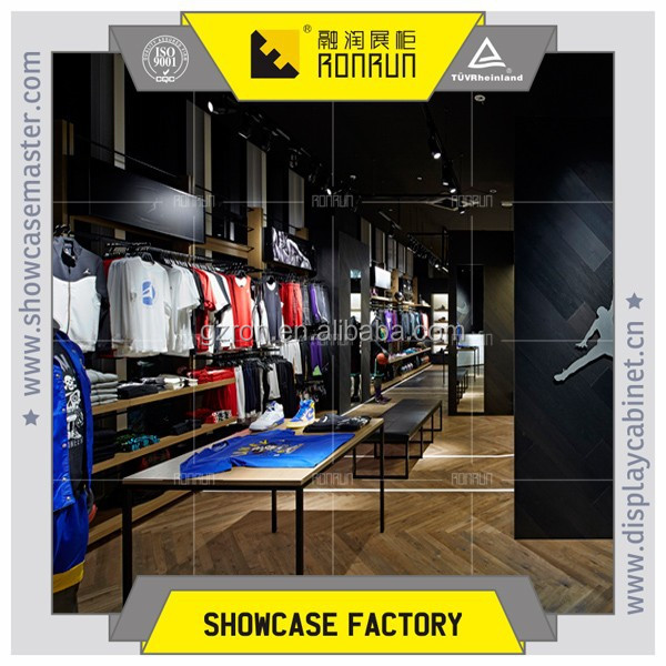 Brand name sports shoes and clothes shop interior design for names of garment