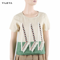 different colors high fashion embroidered women 100% linen t shirt