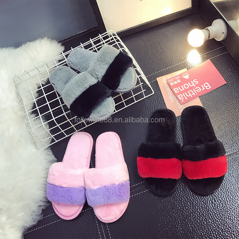 Ladies indoor fur slide slippers flat sandals cute plush real soft fur slippers S6a
