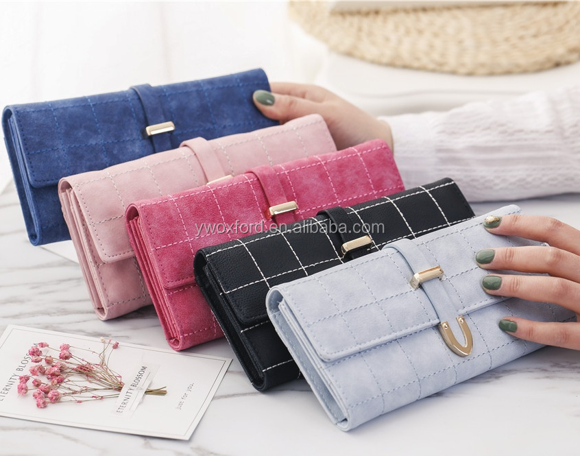 Fashion Women's Foldable Faux Suede Wallet Dusty Grid Embroidery Purse Wholesale for all Seasons