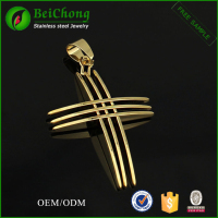 Fashion gold cross pendant stainless steel jewelry pendant blanks