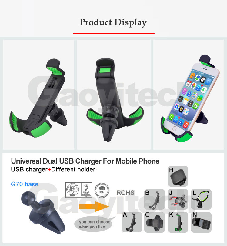 360 Degree Smart Phone Holder Compatible With 4-6.3 Screen Air Vent
