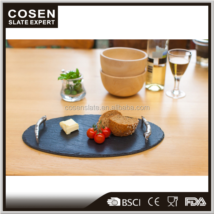Factory directly sale new designs slate tray with stainless steel handles