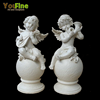 Natural Polished Stone Garden Marble White Boy Angel Statues