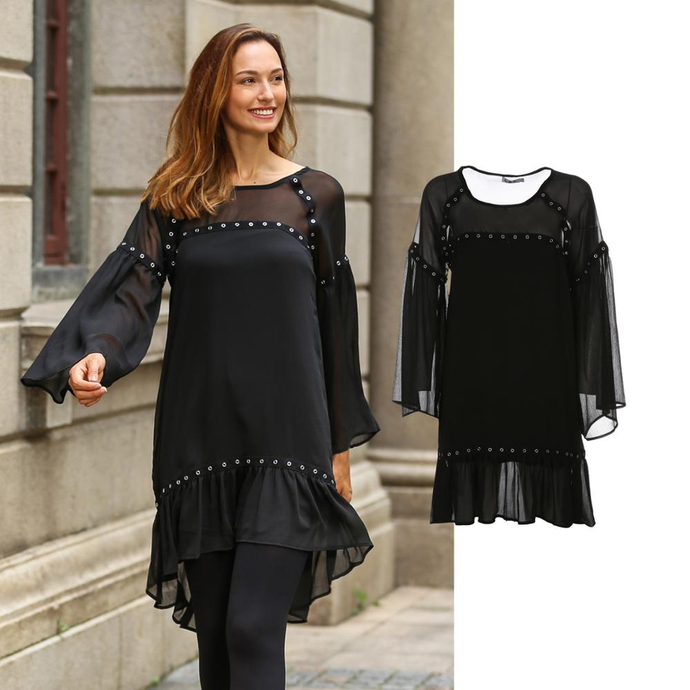 OEM service dongguan supplier woman fashion chiffon dress with sleeves and eyelet tapes