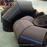 8 inch PE 100 HDPE pipe elbow 45 degree and flange connection