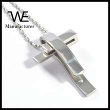 Stainless Steel Tie Clips Design Cross Necklace Pendant