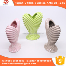 Hot new clear cross grain heart-shaped ceramic flower vase