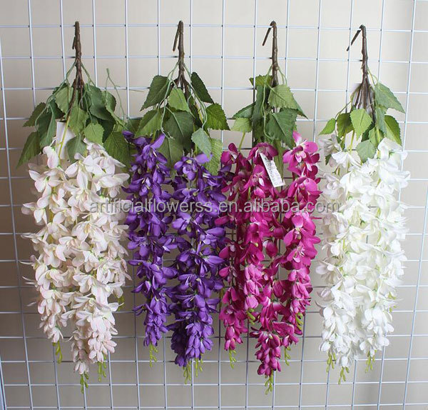 Wholesale new arrival 5 branches hanging decorative artificial wisteria flowers