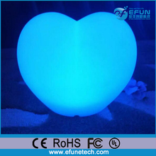 promotion birthday gift wireless control illuminated color changed led heart shaped light