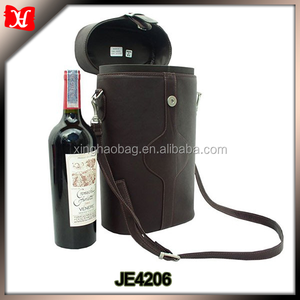 Hot selling shoulder handle wine carrier two bottles bag gift leather wine bag
