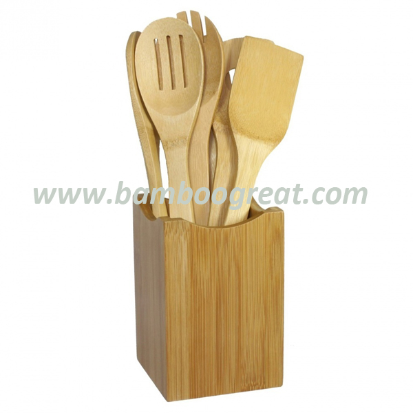 Eco Friendly Kitchen 7 Pieces Bamboo Utensils Set With Holder