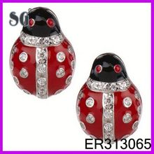 earring silver plating fashion 2014-silver ladybug earrings