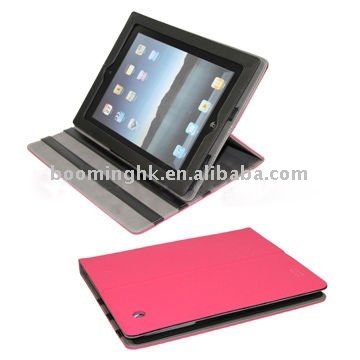 Top Quality Lichee Pattern Leather Folding Case for iPad 2 With Inner Holder & Magnetic Flip
