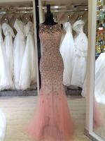 peach color long fishtail evening dress with lace