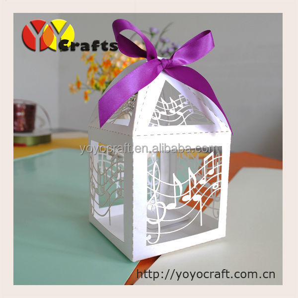Music Note Customizable Wedding Favor Candy Box Laser Cut White