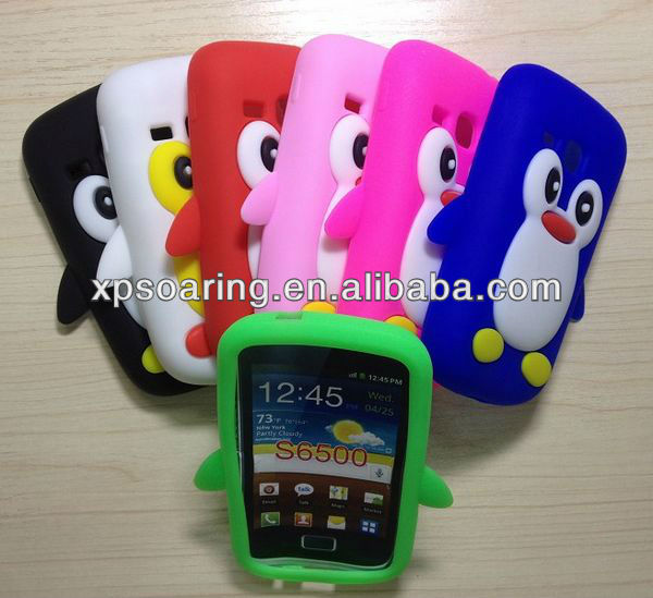 smart penguin silicone case cover for Samsung Galaxy mini 2 S6500