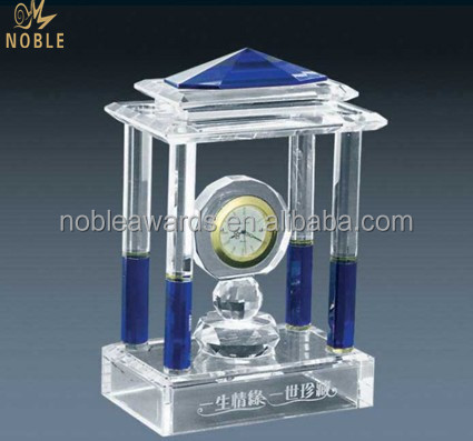 Noble High Quality Handmade Crystal Clock House Building Model Souvenir Products