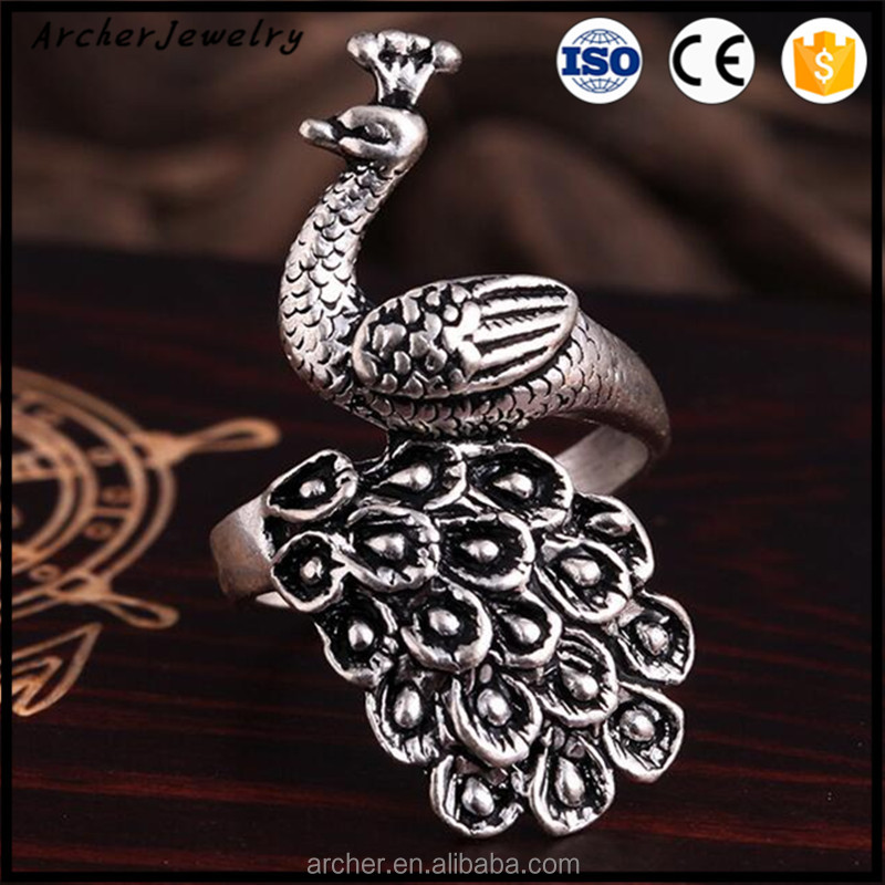 New Style Unisex High Top Yiwu Factory Band Jewelry 2016 Fashion peacock Jewelry Ring RI-011