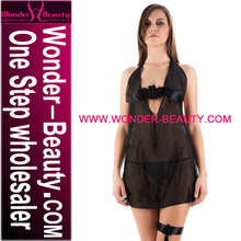 Hot Girl Halter Neck Black Mesh Transparent Sexy Underwear Sexy Babydoll Nighty