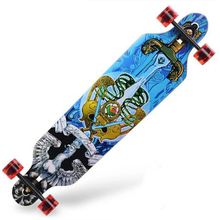 2018 Fashion Logo Longboard Wood Printed Super Cool Sword Pattern Longboard Skateboard