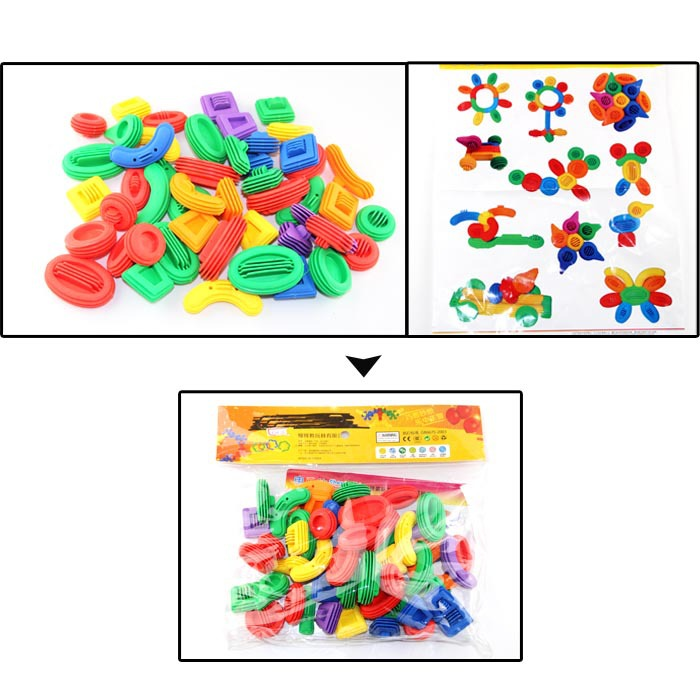 Colourful plastic toy for preschool children plastic block set