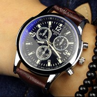 2016 Casual Cool Men Watch Delicate Fashion Brown Leather Men Blue Ray Glass Quartz Analog Watch