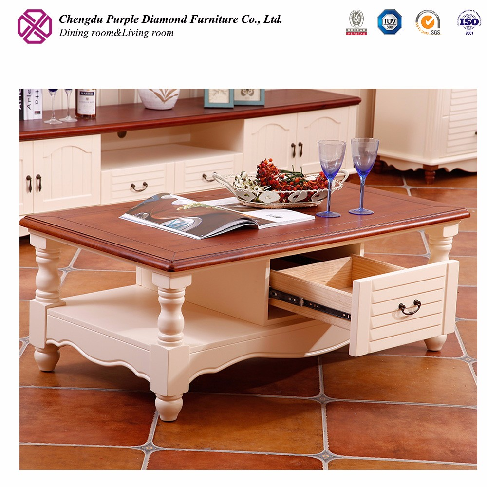 European style furniture wooden coffee table modern teapoy designs